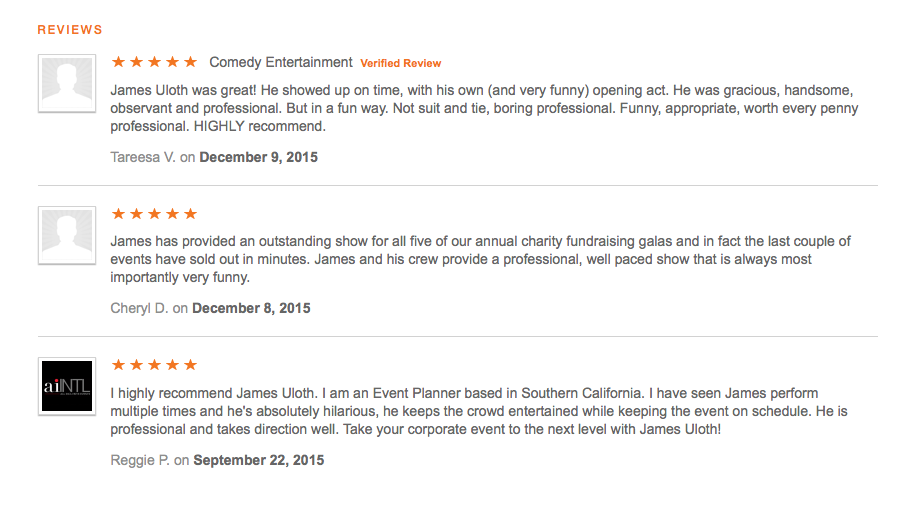 Reviews of Corporate Comedian James Uloth