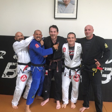 at the jiu jitsu gym with all the black belts